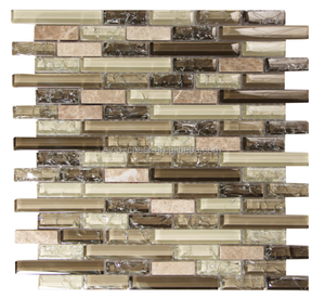 brown and beige tones of glass blend marble strip cracked glass mosaic