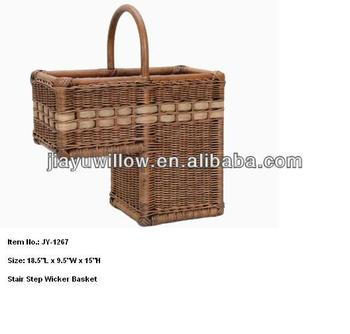 Wicker Stair Storage Basket For Magazines And Newspaper
