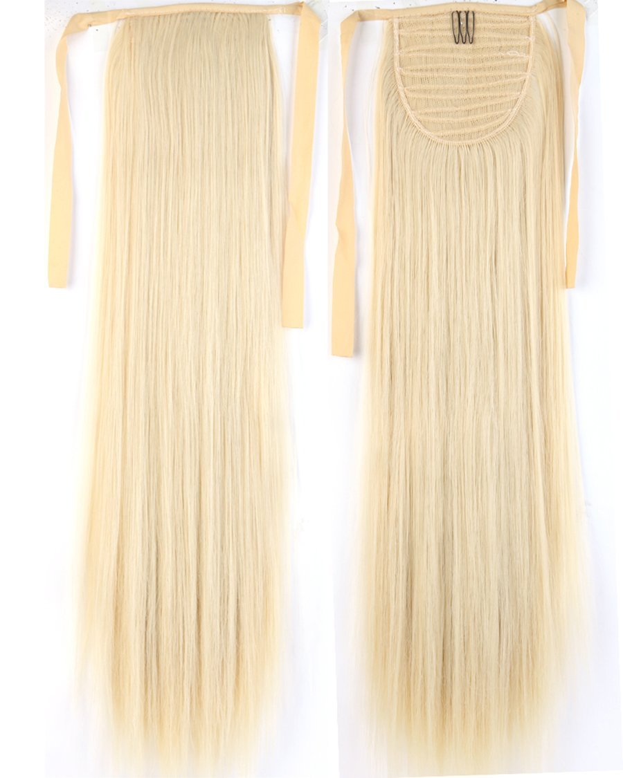 Long Straight Bleach Blonde Bingding Ponytails 21 Inches Clip on Ponytail Hair Extensions Hairpiece Ribbon Pony Tail Extension for Women Style