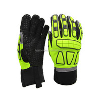 Hi-vis Impact Resistant Protection Gloves With Double Palm And TPR Back