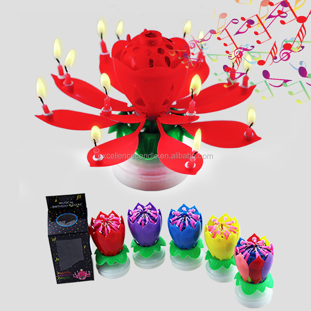 2018 Top Selling Rotating Lotus Birthday Candle With Music And Fireworks