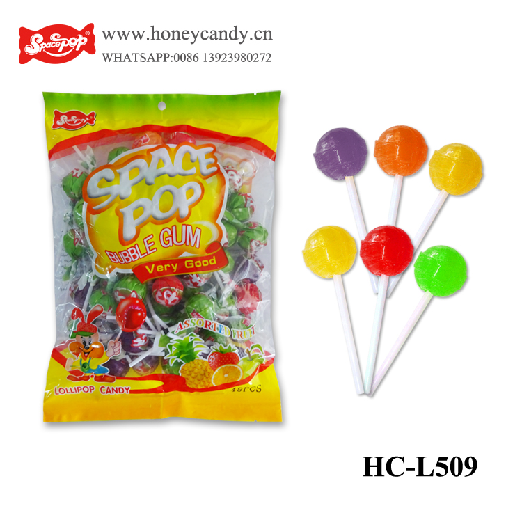 Cola lollipops candy with bubble gum filled