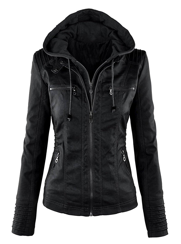 VearFit Hooded Black Biker Faux Leather Jacket for Women Missy Regular & Plus Size