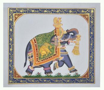 Handmade Elephant Design Wall Decor Miniature Ethnic Handmade Painting On Silk Home Decor Art 34x17 Inches