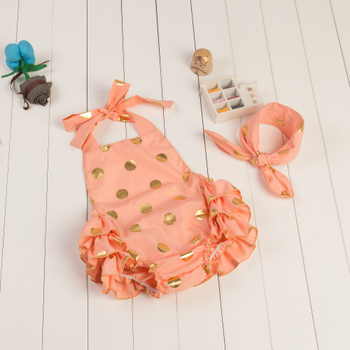 75e78da7b453 Cotton Girls Many Colors Summer Polk Dots Sequin Ruffles Romper Halter Baby  Rompers