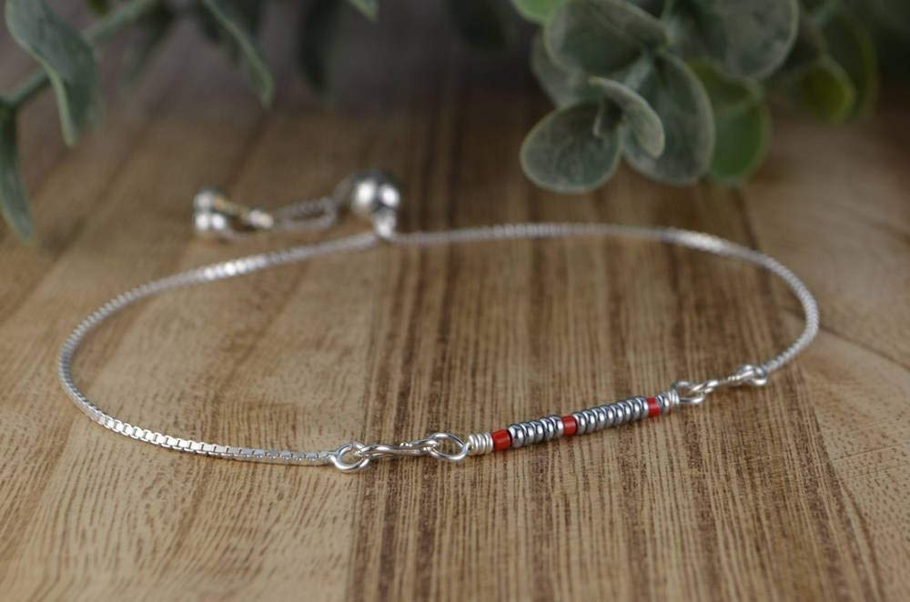 """Custom Colors- Morse Code """"Any Single Word"""" Adjustable Sterling Silver Interchangeable Charm/Link Bolo Bracelet- Charm, Bracelet Chain, or Both Bracelet and Charm"""