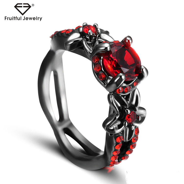 Beautiful Luxury Red Zircon Black Gold Engagement Ring Designers