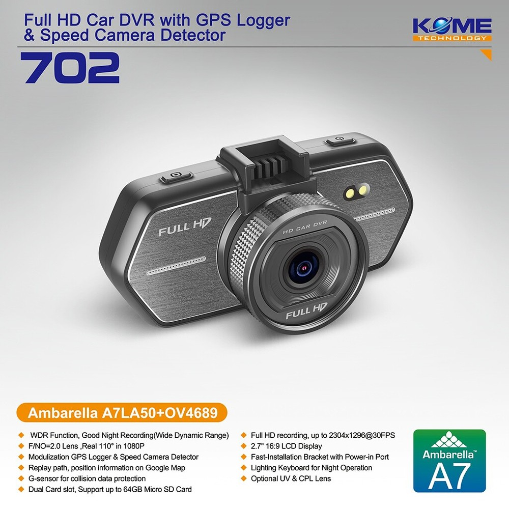 Hot kome 702 dash camera 1080p sport cam dvr night vision dash cam korea car dash