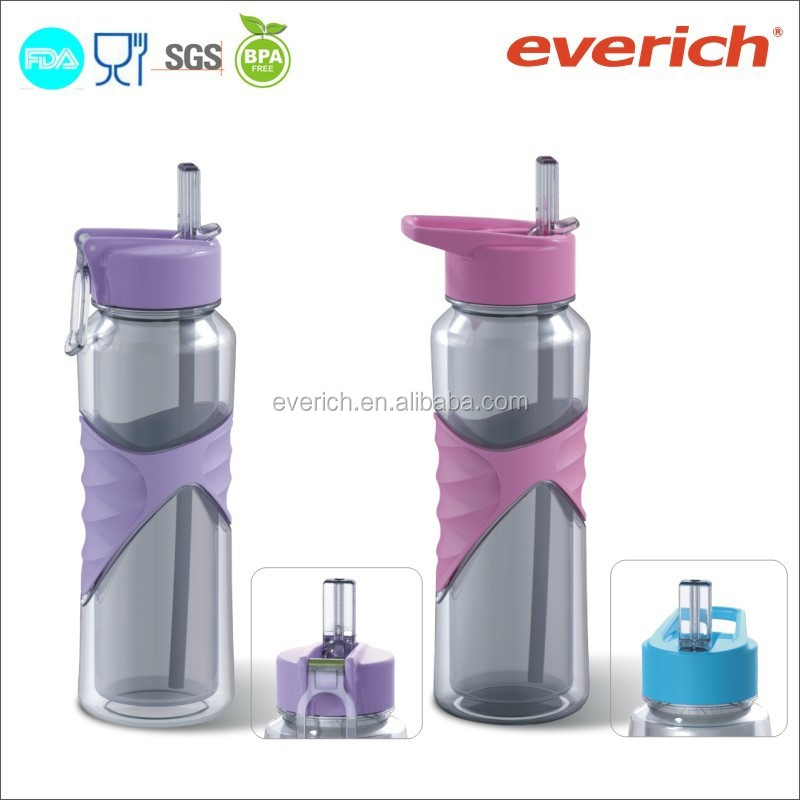unique product sports plastic water bottle with sleeve, tritan water bottle with straw