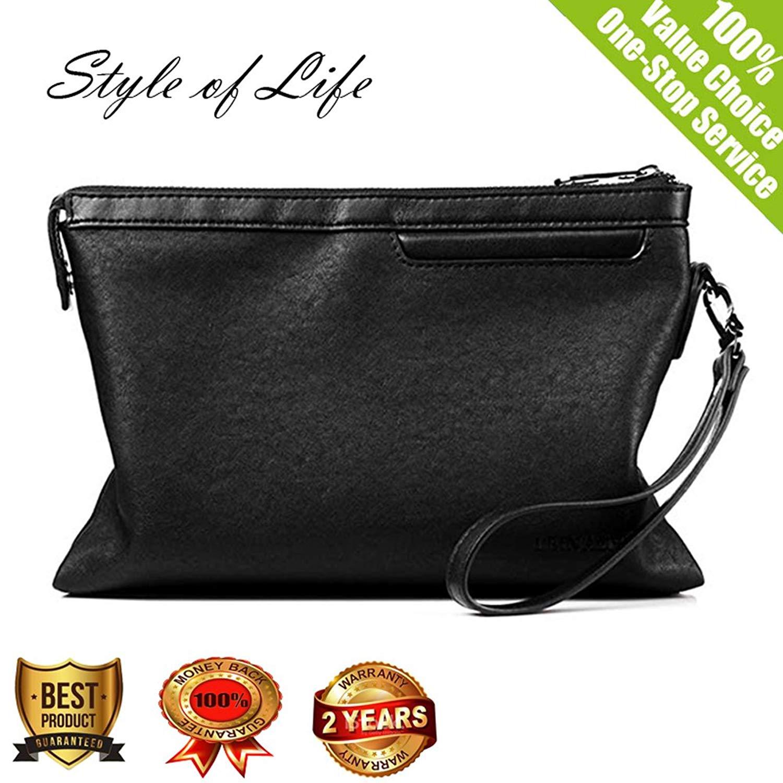 Clutch Bag for men PU Leather Long Zipper Purse Business envelope clutch bag Mens Wallet Handbag 2018 Black
