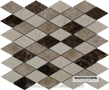 Emperador Dark Diamond Shaped Tile Marble Mosaic Bathroom Floor - Diamond shaped tile flooring