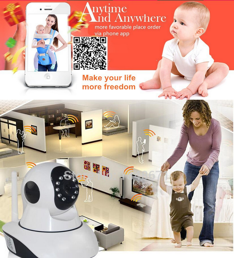 720P Ptz ip camera p2p indoor PAN TILT Onvif wifi Security Baby Monitor Support 32g Micro SD Card for Infants Black