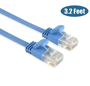 Enterest Ultra Slim Flat Profile RJ45 Cat 6 Flat Ethernet Cables With High-Speed For Computers / Modem / Smart Televisions / Router / LAN / Printer / MAC / Laptop /PlayStation 3/4/Xbox (3.2 feet)