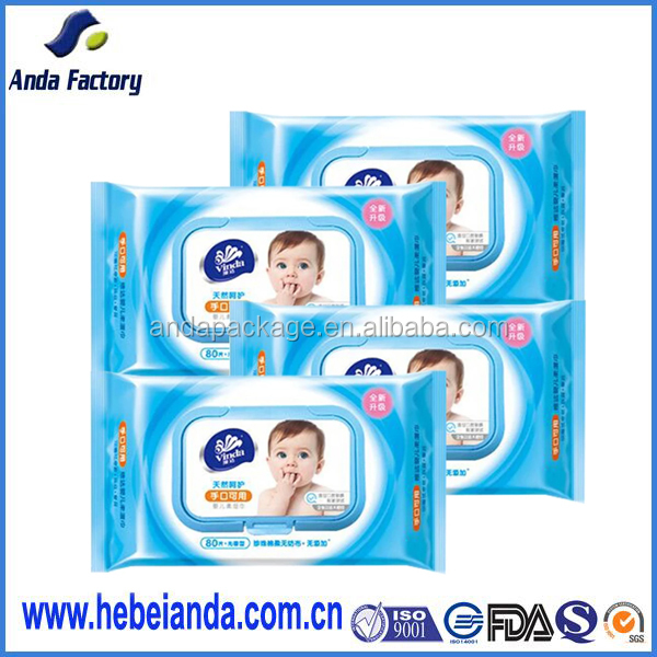 Customize retail aluminum foil plastic baby wet wipes packaging bag with tear
