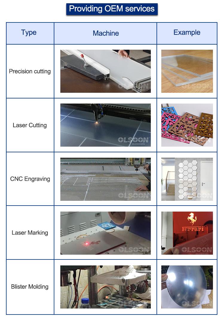 laser cutting oem plexiglass sheets