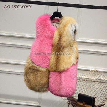 Fashion short style woman brown and pink fox fur waistcoat