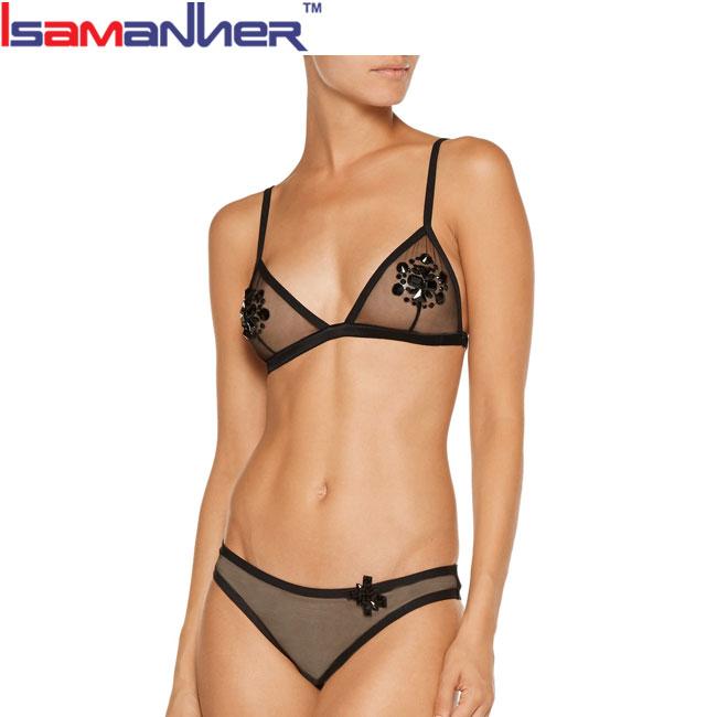 a53316db2fde Latest design beautiful girls underwear set transparent micro bra panty set