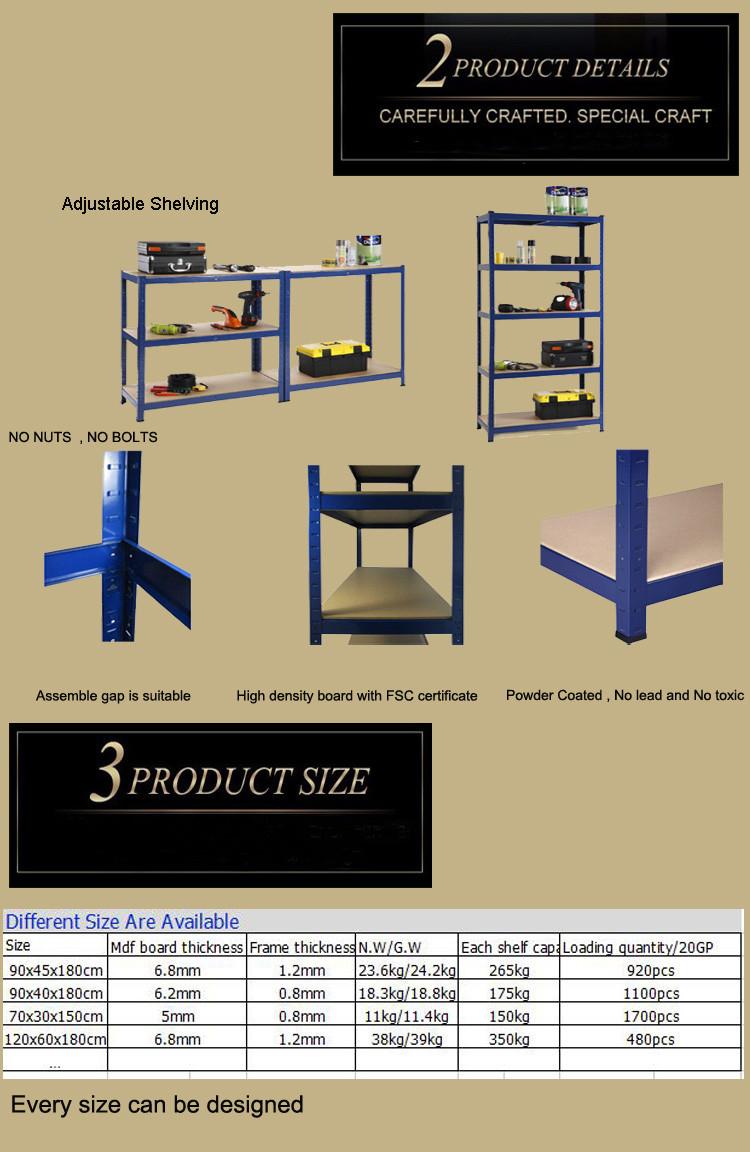 Warehouse Storage 5 Layer Mdf Board Boltless Shelving - Buy ...