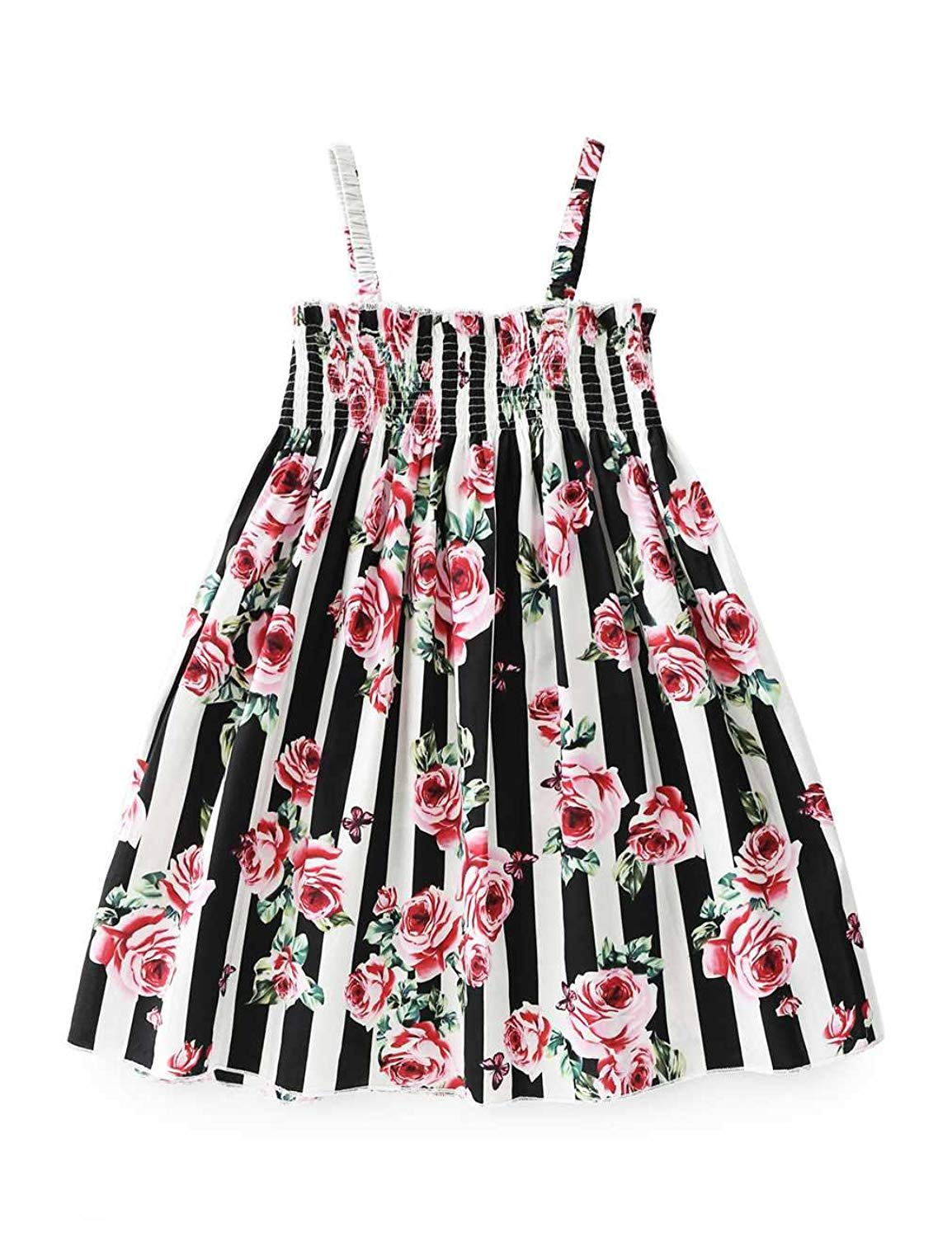 a7de5f3a9d4 Aidio Baby Girl Strap Dress Striped Rose Flower Vintage Floral Toddler  Casual