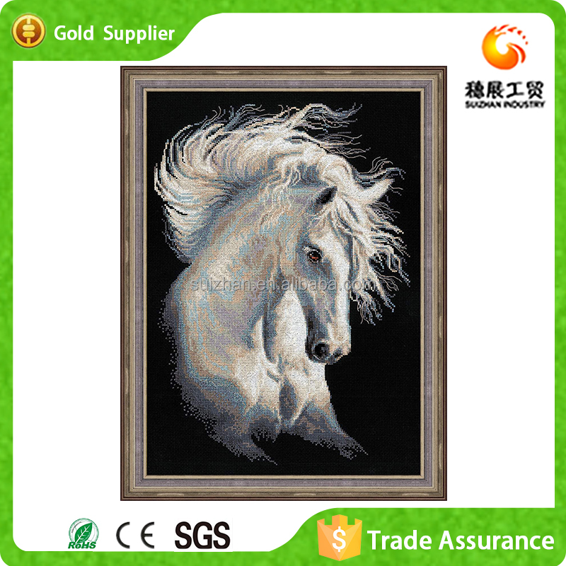 Home Art Wall Decoration White Fine Horse 5D DIY Diamond painting Embroidery