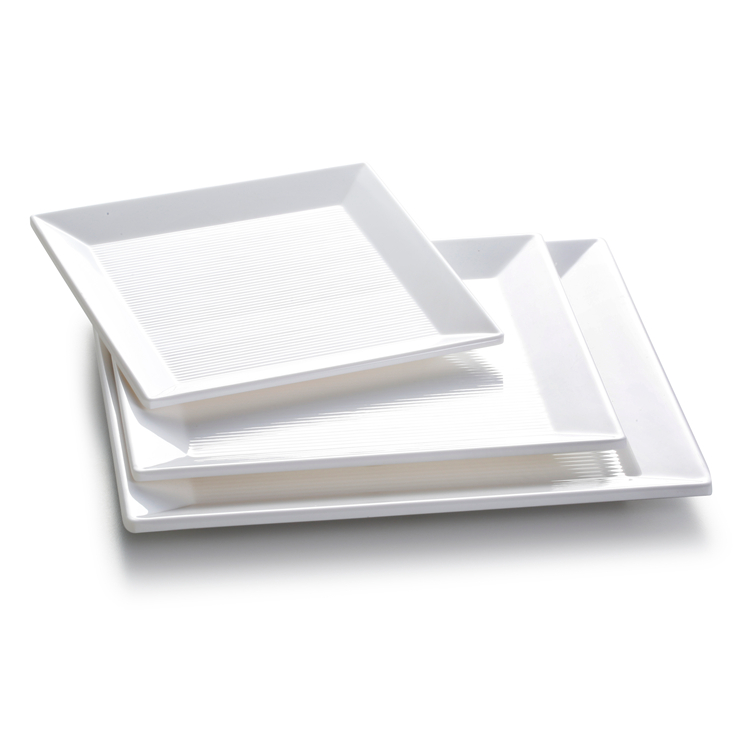 New 100% melamine restaurant white square plates sets dinnerware