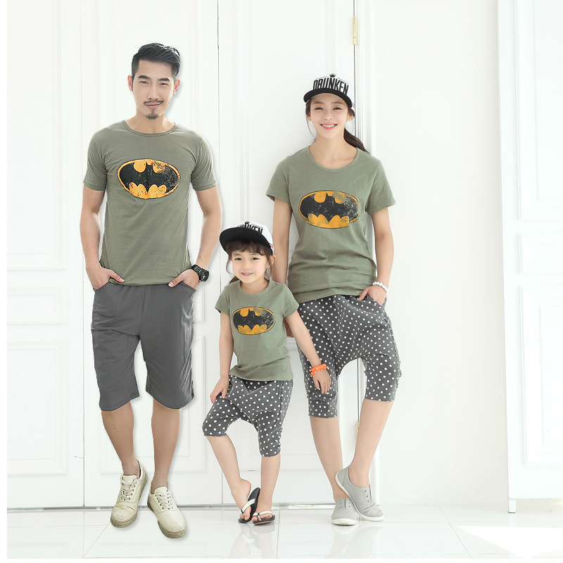 2016 Summer Family Matching Outfits Short Sleeved Cotton Batmen T Shirt Shorts 2Pcs Set Father Daughter