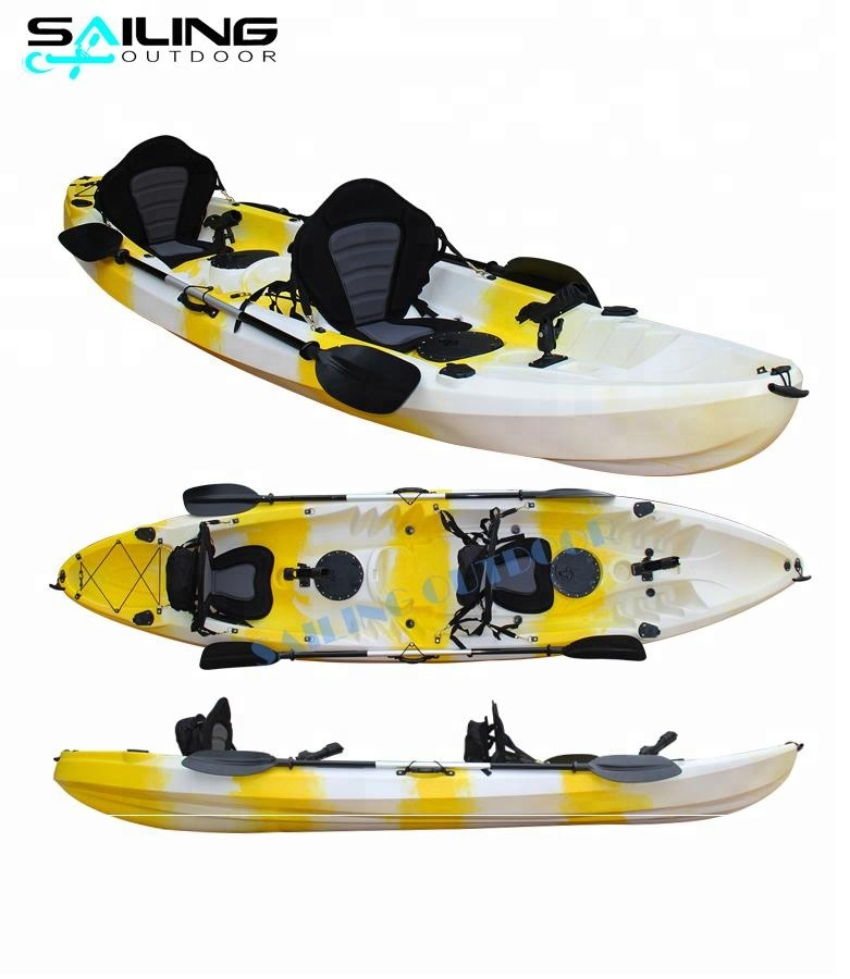 3 Persona Tandem Pesca kayak/canoa, sit on top kajak con paddle
