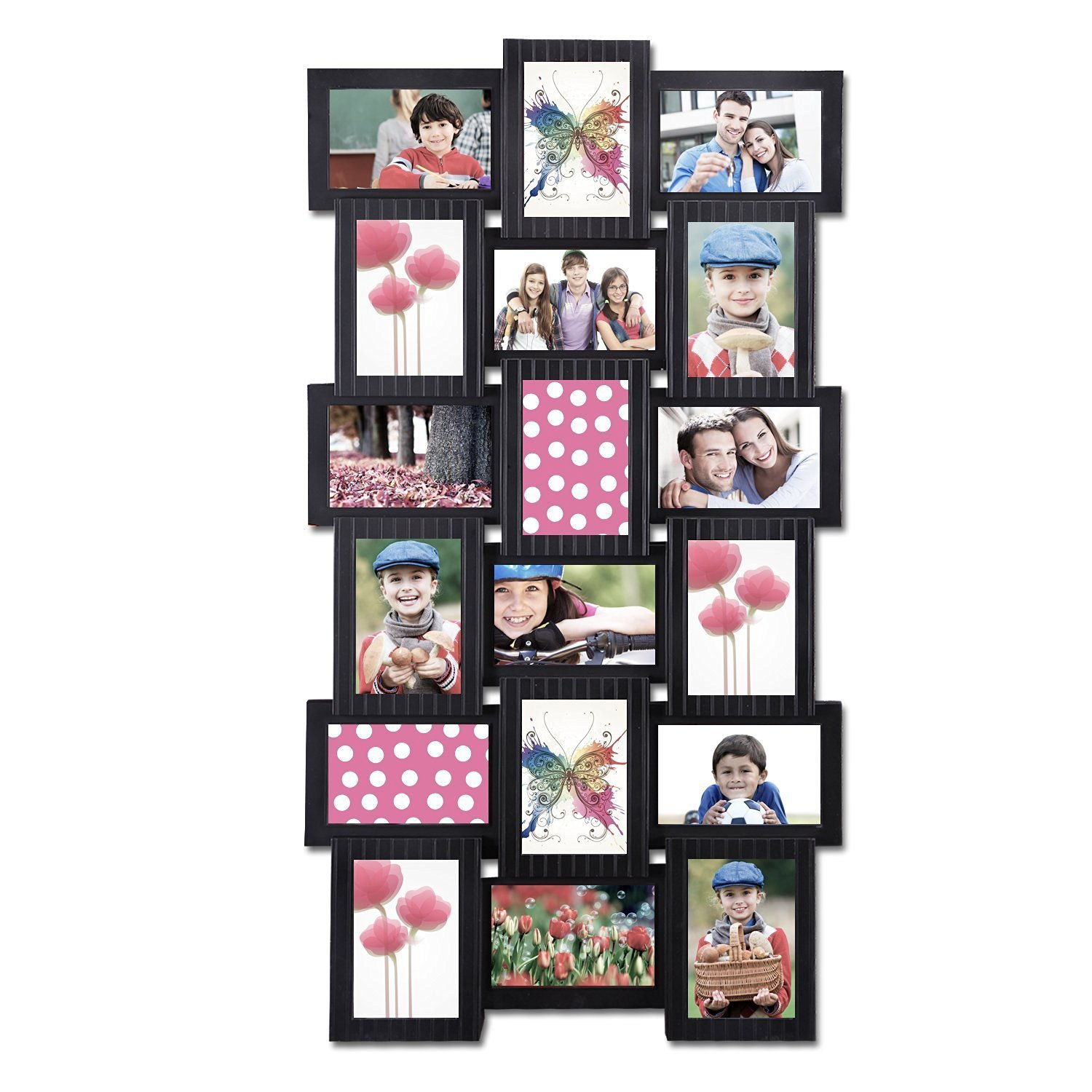Adeco PF0486 Decorative Black Polyresin Wall Hanging Collage Picture Photo Frame, 4 X 6,Black