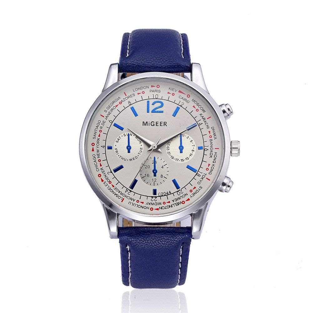 Big Promotions! Nufelans Men Simple Retro Design Leather(PU) Band Alloy Analog Quartz Business Wrist Watch Sale