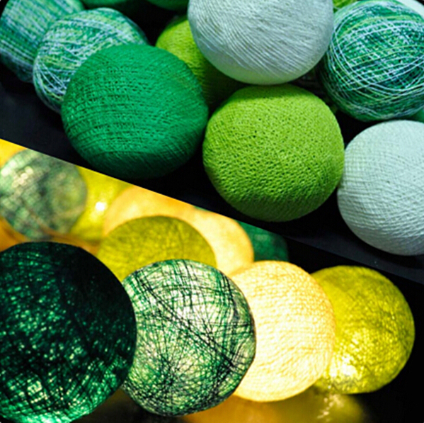 92309aee6ede8 Fadas Artesanal Tom Verde Bolas de Algodão Luzes Da Corda Para A Decoração  Home Iluminação