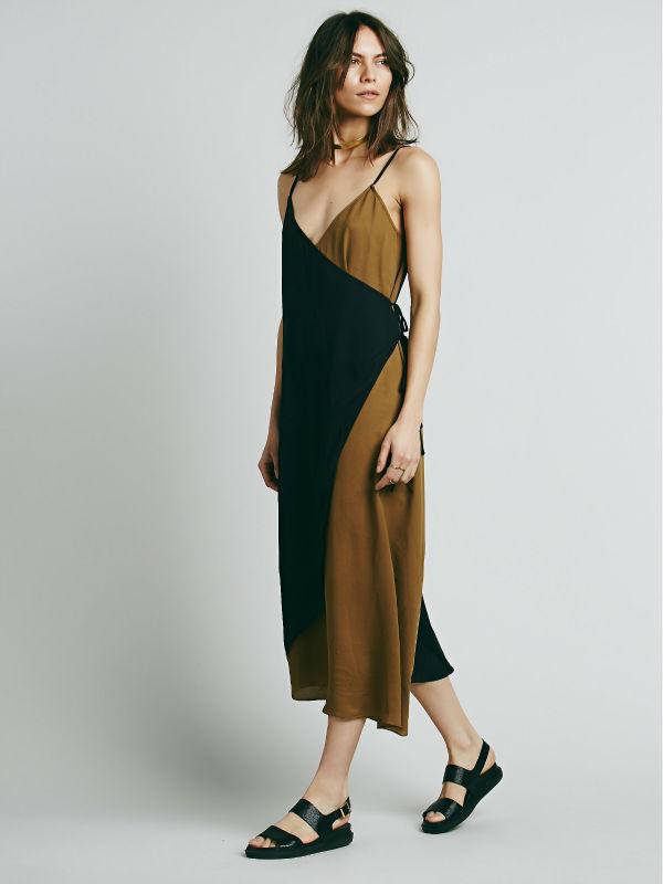 Spaghetti Strap Color Block Midi Dress Woman Modern Wrap Dress ...