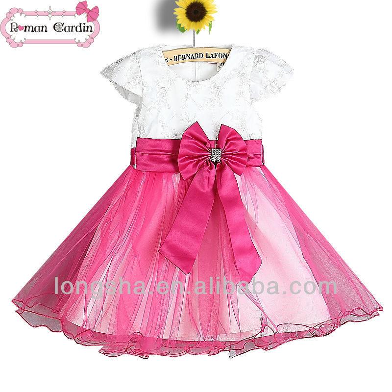 Hermosa Vestidos De Fiesta De Color Rojo Para Las Niñas Adorno ...