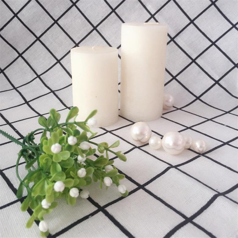 Smooth Surface Pure White Wedding Decor Romantic Rose Fragrances Pillar Candle