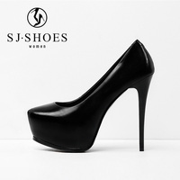 D012 New design genuine leather high heel women platform dress shoes