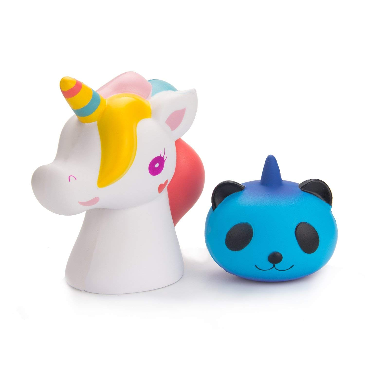 BeYumi Slow Rising Toy, Jumbo Unicorn + Starry Unicorn Panda Squishy Toy, Cream Scented Simulation Cute Unicorn Squeeze Toys for Collection Gift, Decorative props Large or Stress Relief