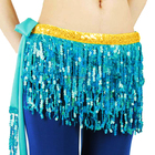 Bestdance belly dance tribal hip scarf sequin bellydance hip scarf sexy blue tassel hip scarf for women OEM