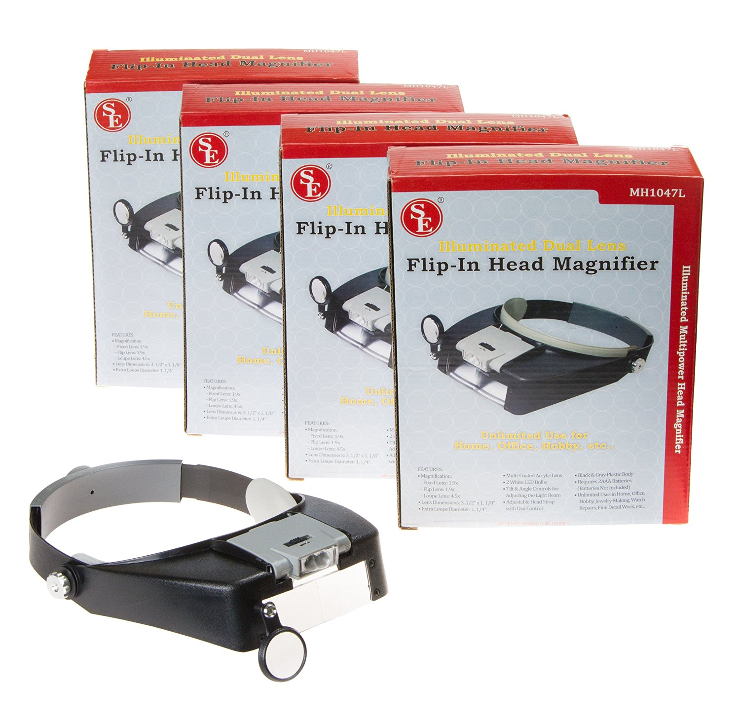 SE MH1047L-4 Illuminated Dual Lens LED Flip-In Head Magnifier (Pack of 4)