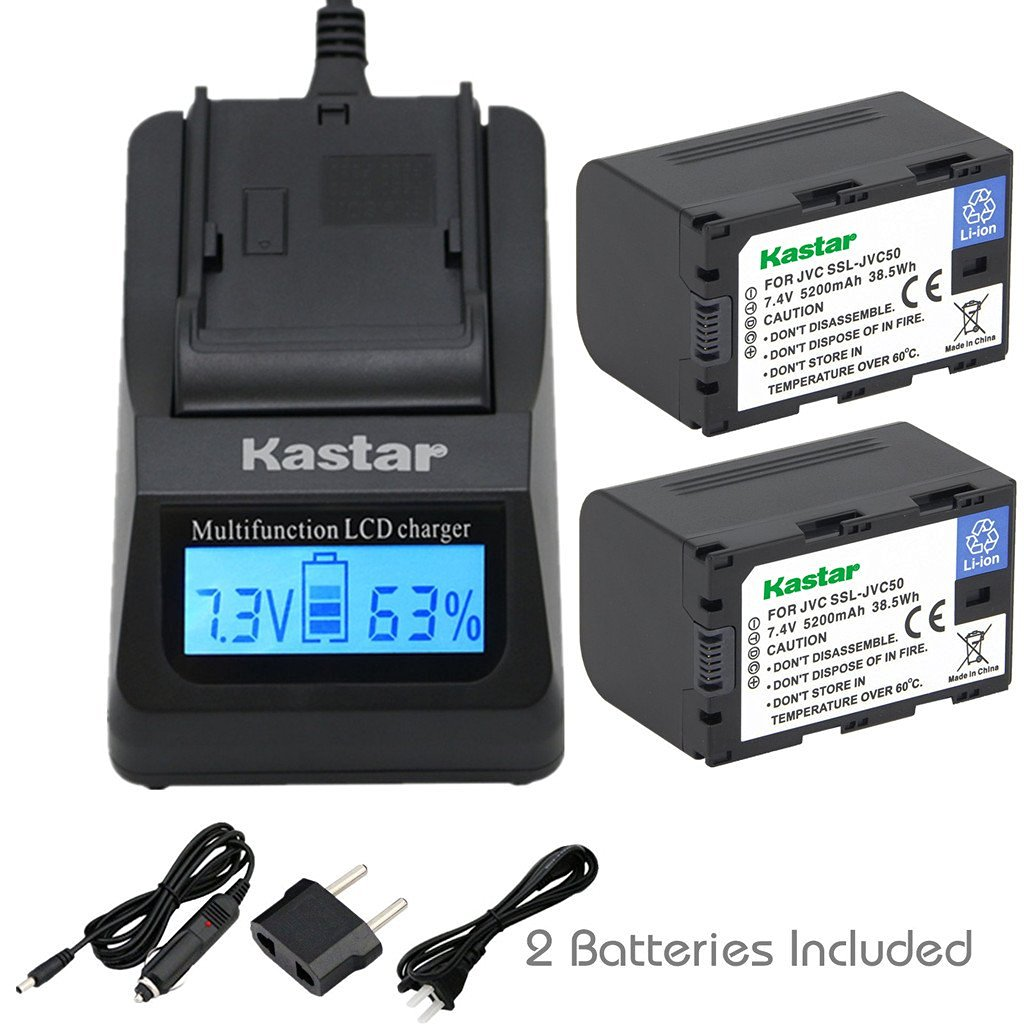 for JVC SSL-JVC50 and JVC GY-HMQ10 GY-LS300 GY-HM600EC Kastar LCD Dual Smart Fast Charger /& Battery GY-HM600E GY-HM600 1 Pack GY-HM650 Camcorders GY-HM200