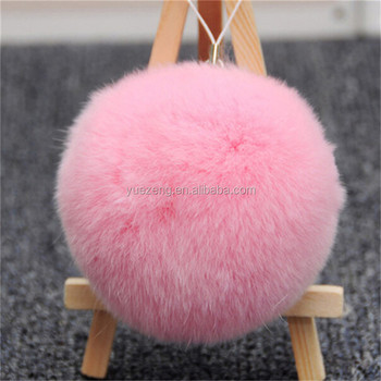 Trendy charms fox tail keychain/ball key chain