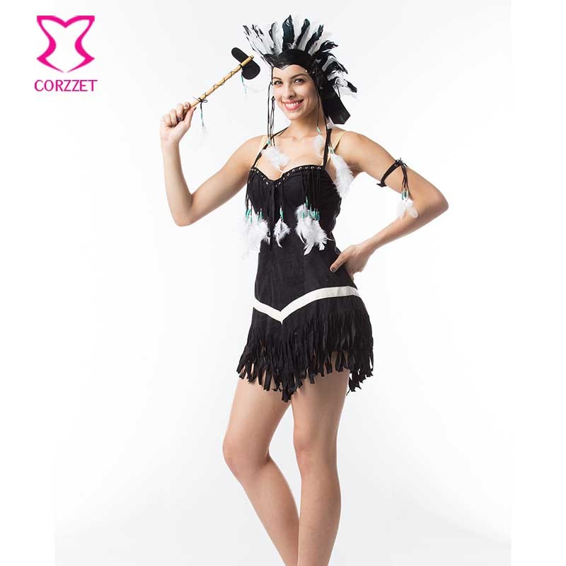 Halloween Sexy Costume White Feathers Tassel&Black Flannel Indian Sexy Dress