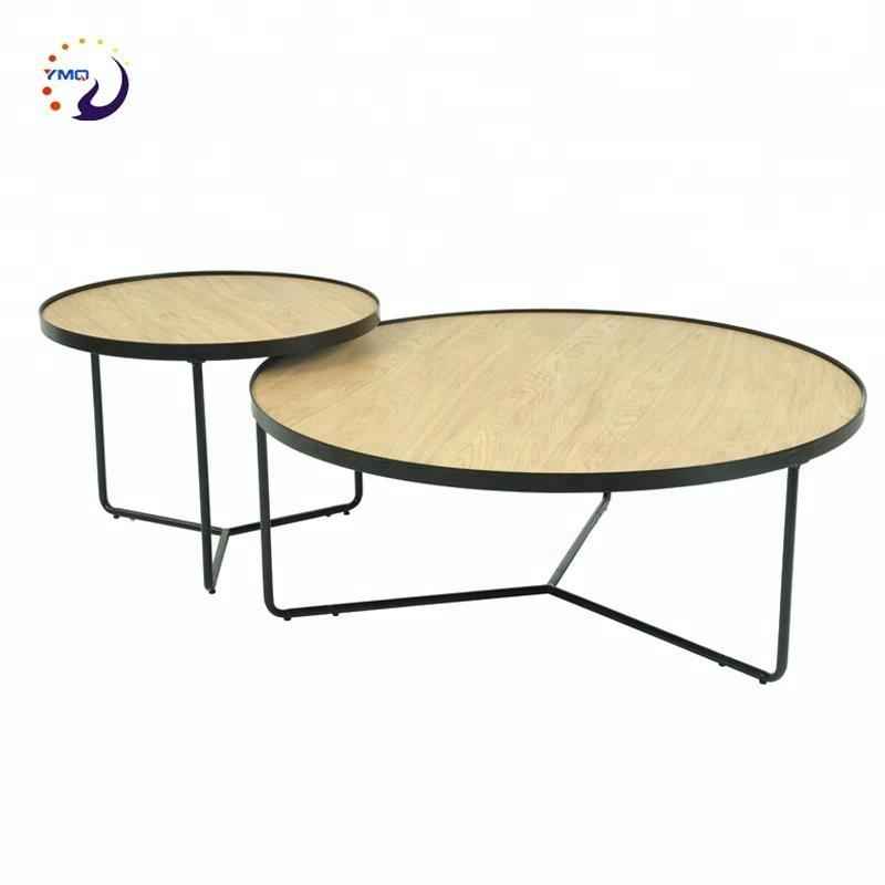 कमरे में रहने वाले फर्नीचर दौर ठोस लकड़ी/ओक लिबास MDF छोटे कॉफी टेबल दौर सेट
