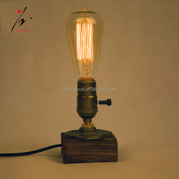 Loft Vintage E27 Holder Edison Bulb Table Lampwood Base Light