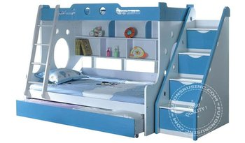 Blue white bunk bed twin over full buy bunk beds Whats bigger full or twin
