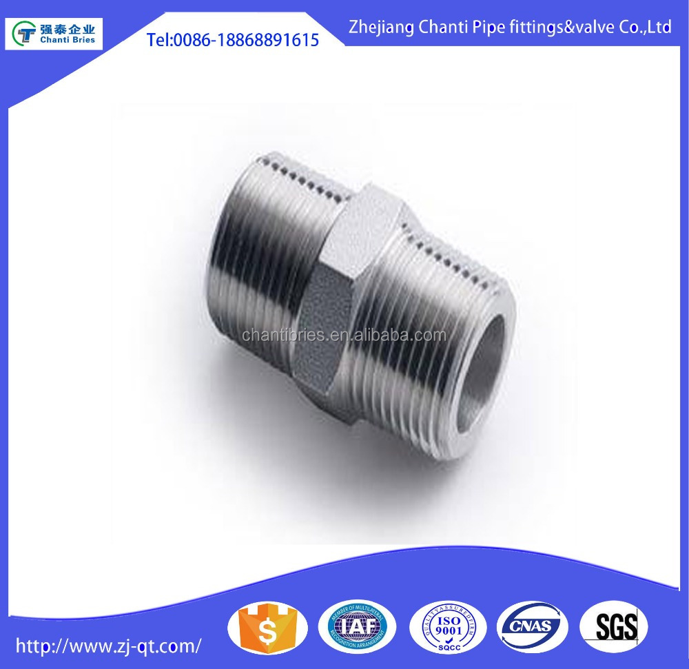 Stainless Steel 304 threaded nipple hex nipple