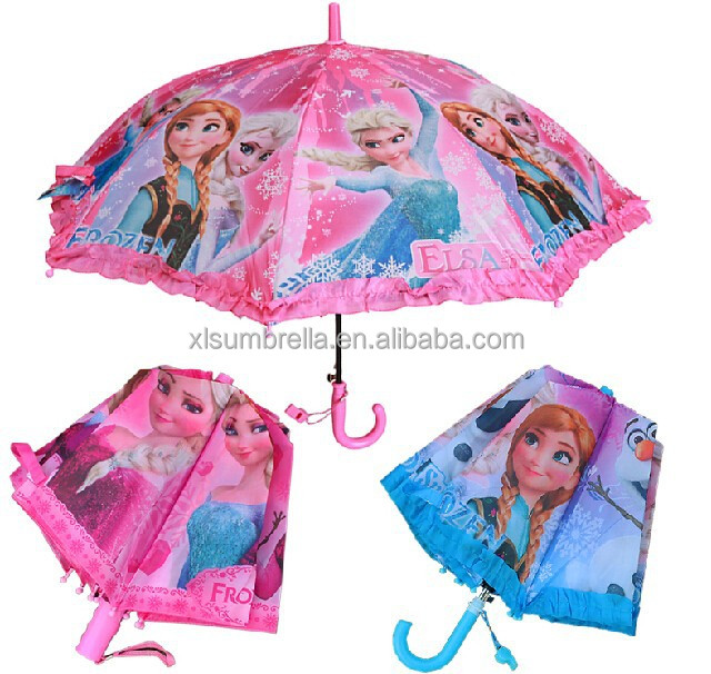 snowman frozen 2-fold auto open hook handle ruffle kid umbrella
