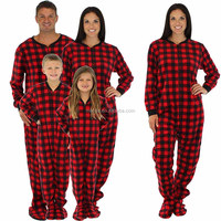 Family Matching Red Plaid Fleece 100% Cotton Onesie PJs Footed Family Onesie Pajamas Sets