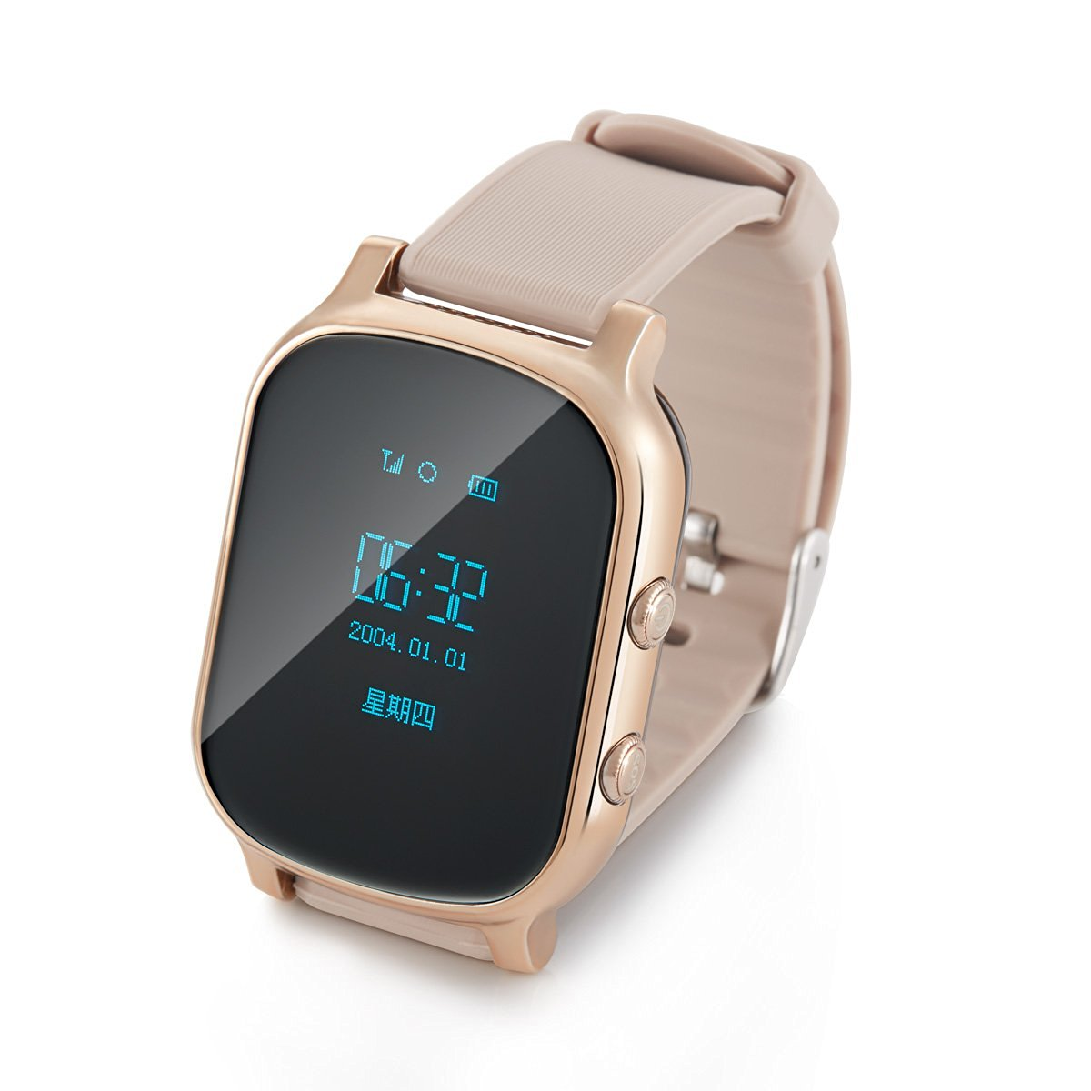 Generic Personal Locator Real Time GPS Tracker Watch for Kids Baby Adults Elderly People Child Smart SIM Watch Children Bracelet with SOS SMS Map GSM GPS Tracking Device for IOS Android Phone (Gold)