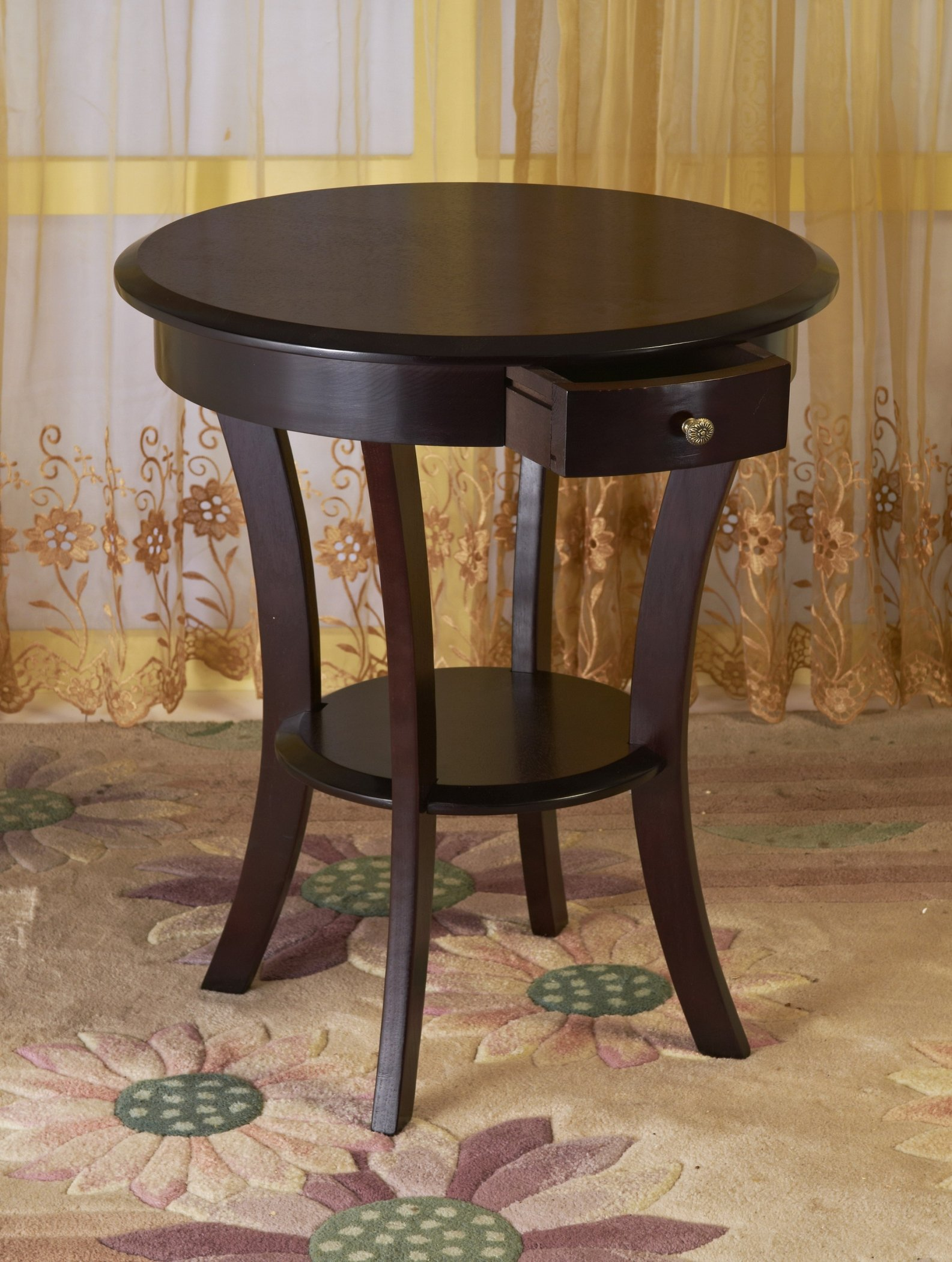 Get Quotations Frenchi Home Furnishing Furniture Wood Round Table With Drawer Shelf Espresso