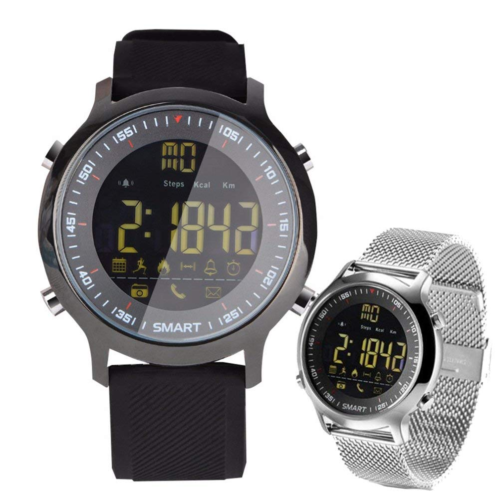 Men Sport Smart Watch EX18 Waterproof Bluetooth Pedometer Caller Information Reminder(black)