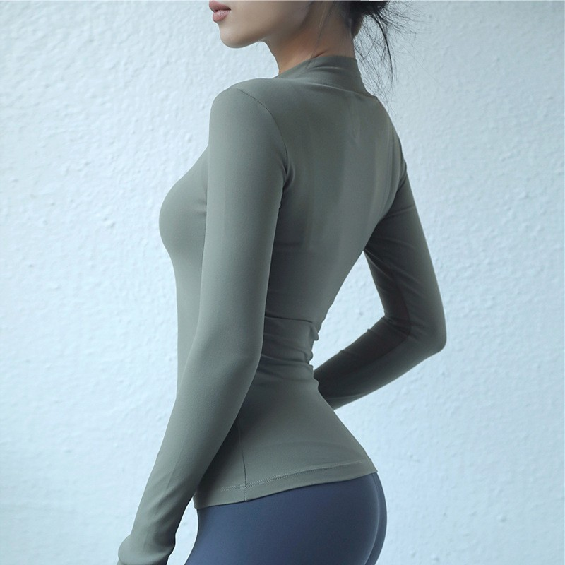 Custom Compression Long Sleeves T Shirts With Zip 100% Cotton Make Your Own Compression Shirts 4